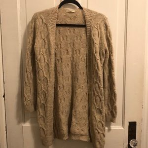 Tan knit cardigan sweater